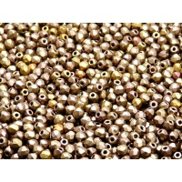 100 pcs Czech Fire Polished Faceted Glass Beads Round 3mm Bronze Gold Rainbow Matte