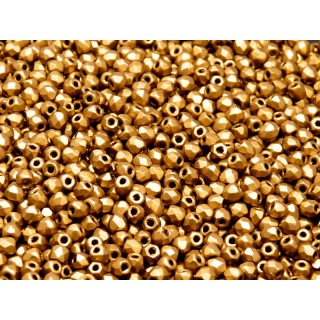 100 pcs Czech Fire Polished Faceted Glass Beads Round 3mm Bronze Gold Matte