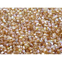 100 pcs Czech Fire Polished Faceted Glass Beads Round 3mm Crystal Brown Rainbow