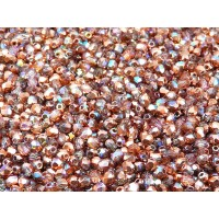 100 pcs Czech Fire Polished Faceted Glass Beads Round 3mm Crystal Copper Rainbow