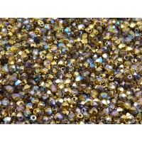 100 pcs Czech Fire Polished Faceted Glass Beads Round 3mm Crystal Golden Rainbow