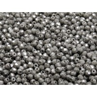 100 pcs Czech Fire Polished Faceted Glass Beads Round 3mm Opaque Grey Ceramic Look