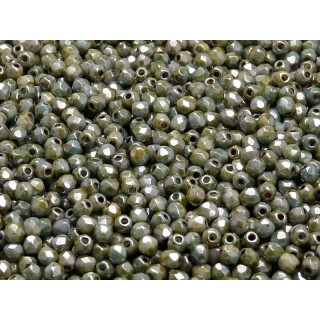 100 pcs Czech Fire Polished Faceted Glass Beads Round 3mm Chalk White Blue Glaze With Luster