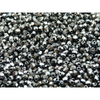 100 pcs Czech Fire Polished Faceted Glass Beads Round 3mm Jet Hematite
