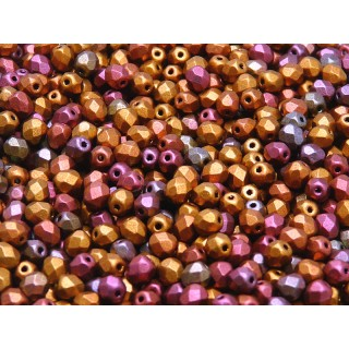 100 pcs Czech Fire Polished Faceted Glass Beads Round 4mm Bronze Violet Rainbow Matte
