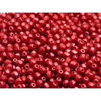 100 pcs Czech Fire Polished Faceted Glass Beads Round 4mm Crystal Lava Red Matte