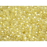 100 pcs Czech Fire Polished Faceted Glass Beads Round 4mm Crystal Yellow Luster