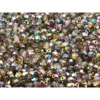 100 pcs Czech Fire Polished Faceted Glass Beads Round 4mm Crystal Vitrail