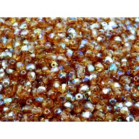 100 pcs Czech Fire Polished Faceted Glass Beads Round 4mm Smoked Topaz AB