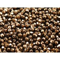 100 pcs Czech Fire Polished Faceted Glass Beads Round 4mm Jet Bronze