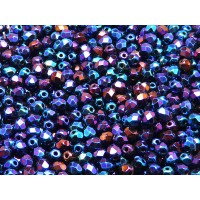 100 pcs Czech Fire Polished Faceted Glass Beads Round 4mm Jet Blue Iris