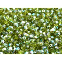 100 pcs Czech Fire Polished Faceted Glass Beads Round 4mm Olivine AB