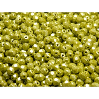 100 pcs Czech Fire Polished Faceted Glass Beads Round 4mm Opaque Olivine White Luster