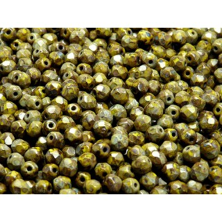 100 pcs Czech Fire Polished Faceted Glass Beads Round 4mm Opaque Olivine Travertin