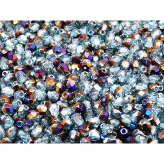 100 pcs Czech Fire Polished Faceted Glass Beads Round 4mm Aquamarine Zairit