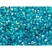 100 pcs Czech Fire Polished Faceted Glass Beads Round 4mm Green Aquamarine AB