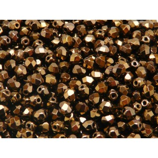 50 pcs Czech Fire Polished Faceted Glass Beads Round 5mm Jet Bronze