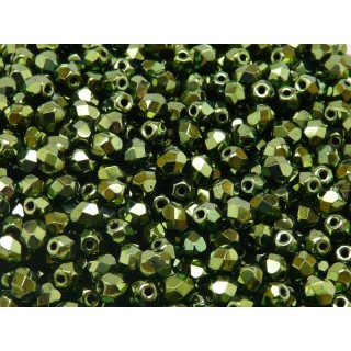 50 pcs Czech Fire Polished Faceted Glass Beads Round 5mm Jet Green Look