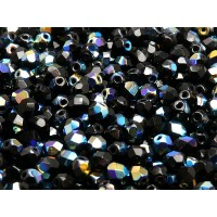 50 pcs Czech Fire Polished Faceted Glass Beads Round 5mm Jet AB