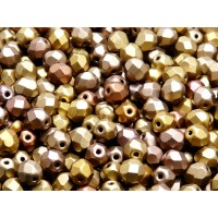 50 pcs Czech Fire Polished Faceted Glass Beads Round 6mm Bronze Gold Rainbow Matte