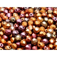 50 pcs Czech Fire Polished Faceted Glass Beads Round 6mm Bronze Violet Rainbow Matte