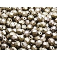 50 pcs Czech Fire Polished Faceted Glass Beads Round 6mm Bronze Grey Rainbow Matte