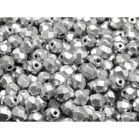 50 pcs Czech Fire Polished Faceted Glass Beads Round 6mm Bronze Silver (Aluminium) Matte