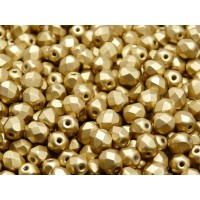 50 pcs Czech Fire Polished Faceted Glass Beads Round 6mm Bronze Pale Gold Matte