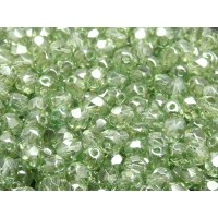 50 pcs Czech Fire Polished Faceted Glass Beads Round 6mm Crystal Green Luster