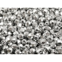50 pcs Czech Fire Polished Faceted Glass Beads Round 6mm Crystal Full Labrador