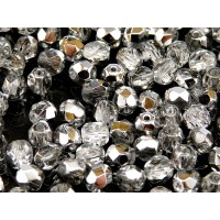50 pcs Czech Fire Polished Faceted Glass Beads Round 6mm Crystal Labrador