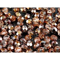 50 pcs Czech Fire Polished Faceted Glass Beads Round 6mm Crystal Gold Capri