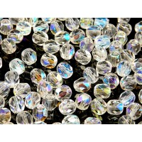 50 pcs Czech Fire Polished Faceted Glass Beads Round 6mm Crystal AB