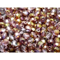 50 pcs Czech Fire Polished Faceted Glass Beads Round 6mm Crystal Red Violet Luster
