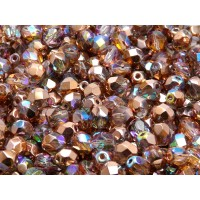 50 pcs Czech Fire Polished Faceted Glass Beads Round 6mm Crystal Copper Rainbow