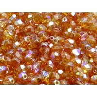 50 pcs Czech Fire Polished Faceted Glass Beads Round 6mm Crystal Orange Rainbow