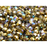 50 pcs Czech Fire Polished Faceted Glass Beads Round 6mm Crystal Golden Rainbow