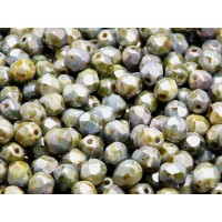 50 pcs Czech Fire Polished Faceted Glass Beads Round 6mm Chalk White Blue/Green Luster With Travertine