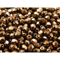 50 pcs Czech Fire Polished Faceted Glass Beads Round 6mm Jet Bronze Luster
