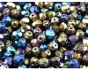 50 pcs Czech Fire Polished Faceted Glass Beads Round 6mm Jet Iris Rainbow