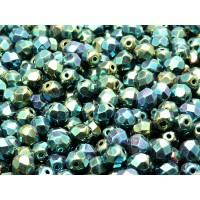 50 pcs Czech Fire Polished Faceted Glass Beads Round 6mm Jet Green Iris