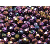 50 pcs Czech Fire Polished Faceted Glass Beads Round 6mm Jet Red Iris