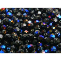 50 pcs Czech Fire Polished Faceted Glass Beads Round 6mm Jet Azuro