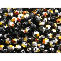 50 pcs Czech Fire Polished Faceted Glass Beads Round 6mm Jet Marea