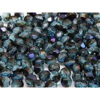 50 pcs Czech Fire Polished Faceted Glass Beads Round 6mm Aquamarine Azuro