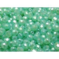 50 pcs Czech Fire Polished Faceted Glass Beads Round 6mm Green Aqua Opal White Luster