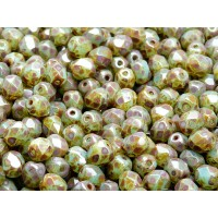 50 pcs Czech Fire Polished Faceted Glass Beads Round 6mm Green Aqua Opal Travertine