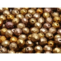 25 pcs Czech Fire Polished Faceted Glass Beads Round 8mm Bronze Gold Rainbow Matte