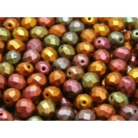 25 pcs Czech Fire Polished Faceted Glass Beads Round 8mm Bronze Violet Rainbow Matte