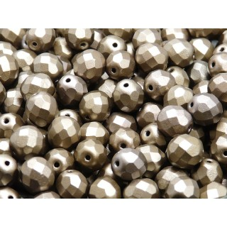 25 pcs Czech Fire Polished Faceted Glass Beads Round 8mm Bronze Grey Rainbow Matte
